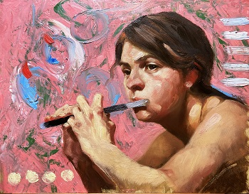 Portrait painting - The Flute Player - Michael Britton 2021