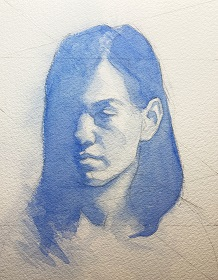 Watercolor portraits blue