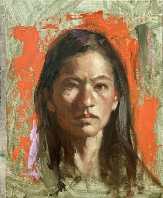 Alla prima portrait painting - Hanna