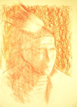 Portrait drawing lessons - Correcting sanguine conte 6