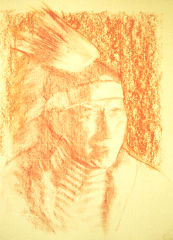 Portrait drawing lessons - Correcting sanguine conte 7