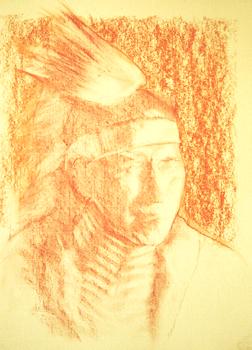 Portrait drawing lessons - Correcting sanguine conte 7