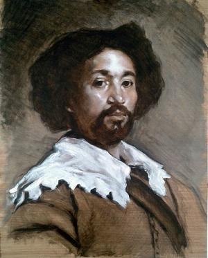 Velazquez portrait of Juan de Pareja workshop - underpainting